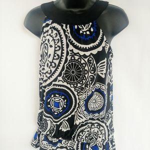 Inc  Halter top black/blue paisley drop waist S